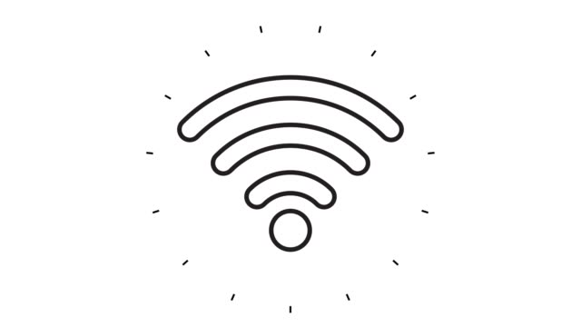 modern wifi line icon animation on white background - sketch stock videos & royalty-free footage