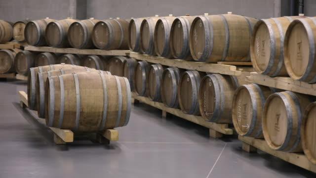 modern wine cellar - wine cask stock videos and b-roll footage