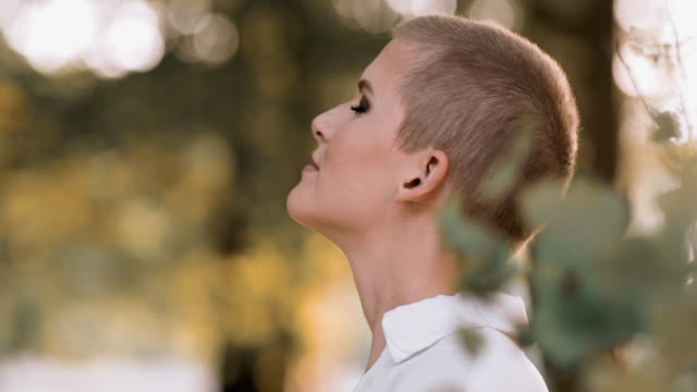 ds cu modern woman with short hair enjoying a fresh air - short hair stock videos & royalty-free footage