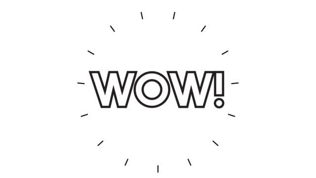 """vídeos de stock, filmes e b-roll de animação moderna de ícone de linha """"wow"""" no fundo branco - ícone de linha"""