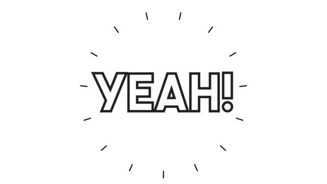 """vídeos y material grabado en eventos de stock de moderno """"yeah!"""" animación de iconos de línea sobre fondo blanco - admiración"""