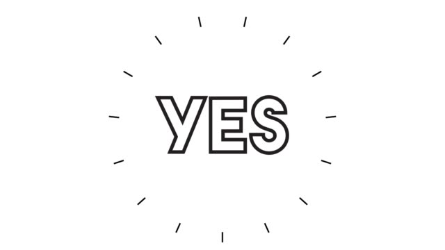 "modern ""yes"" line icon animation on white background - ecstatic stock videos & royalty-free footage"