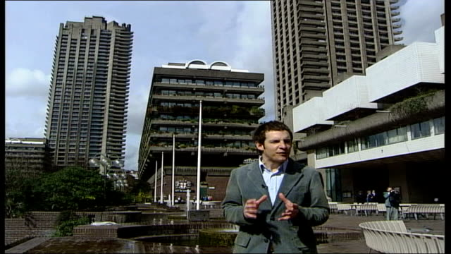 modernism exhibition opens at victoria and albert museum barbican ext low angle shot of tower block in barbican centre reporter to camera general... - courtyard stock videos and b-roll footage