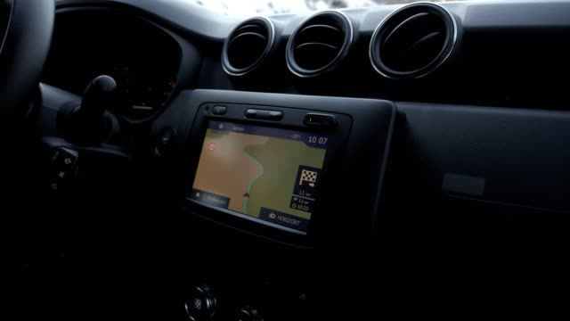 gps module integrated in a car, close up, technology innovations, road navigation - global positioning system stock videos & royalty-free footage