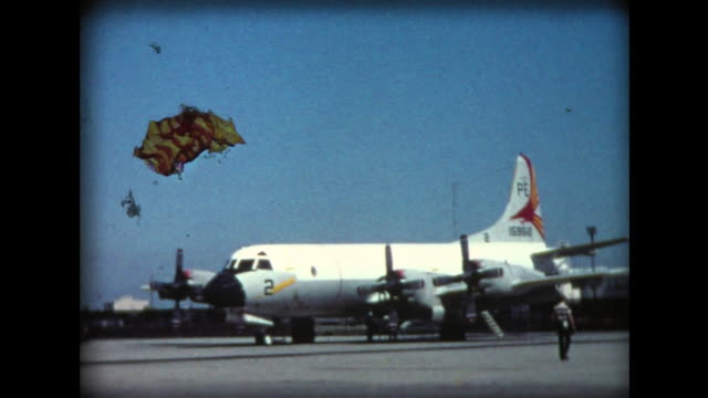 1976 moffett airfield prop planes and hangers - 1976 stock-videos und b-roll-filmmaterial