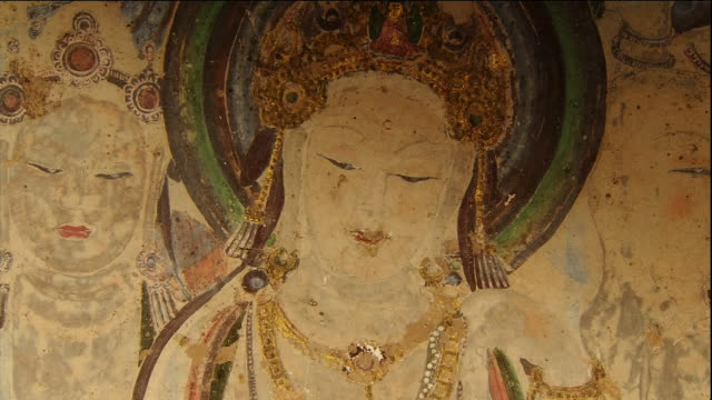 Mogao Caves Cave 57 Murals Buddha Close shot Ornaments and crowns coated ingold dust and lacquer