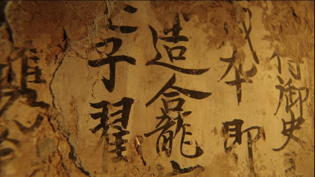 Mogao Caves Murals dedicaed by the Zhai family The letters 'the Zhai family' Close shotMural The letters of ''
