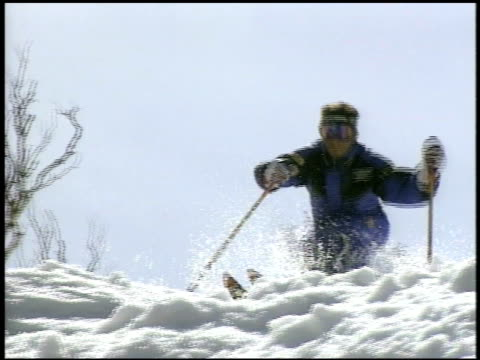 mogul skiing mogul skiiing on january 01 2012 - salmini stock videos & royalty-free footage
