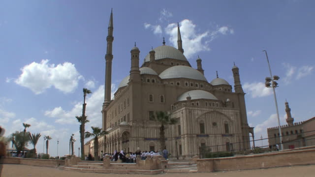 T/L WS Mohamed Ali Mosque exterior with pilgrims and visitors, Cairo, Egypt