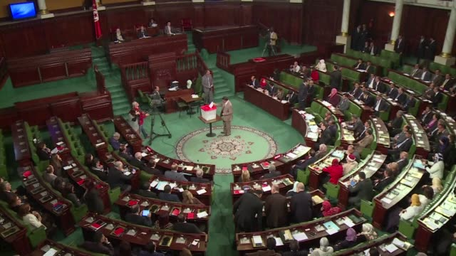 stockvideo's en b-roll-footage met mohamed ennaceur former minister under the bourguiba regime was elected on thursday as the president of the first democratically elected parliament... - voormalig