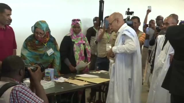 mohamed ould ghazouani 62 year old former general and ruling party candidate in mauritania's presidential election casts his vote at a nouakchott... - nouakchott stock videos & royalty-free footage