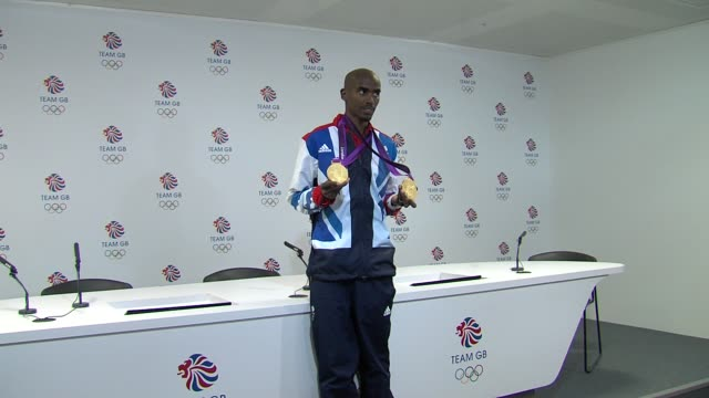 Mohamed Team at GB Medal Winners Press Conference Mo Farah Olympic Gold Medalist 5000M and 10000M at Olympic Park on August 12 2012 in London England