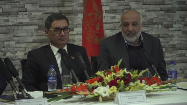 vídeos y material grabado en eventos de stock de mohammed masoom stanekzai head of afghanistan's defense ministry saying you cannot prevent all attacks after a devastating taliban truck bombing in... - departamento de defensa