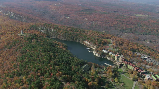 AERIAL Mohonk Mountain House on Lake Mohonk / New Paltz, New York, United States