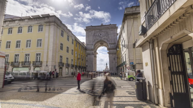 moion timelapse (hyperlapse) of the famouse arc at the commerce square. lisbon, portugal. april, 2017 - lisbon stock videos and b-roll footage