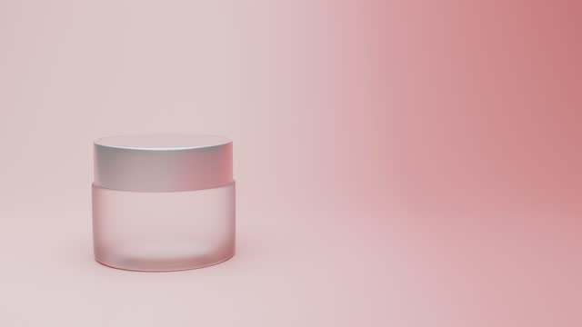 vidéos et rushes de moisturizing essence face serum, face cream in glass bottle falls on pink background. hyaluronic acid for hydration skin. cosmetic products in jar for makeup and skin care. 3d rendering. - marchandise