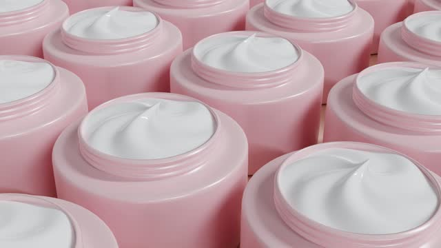 stockvideo's en b-roll-footage met moisturizing white face cream in pink bottles moves on beige background. hyaluronic acid for hydration skin. cosmetic products in jar for makeup and skincare. 3d animation, pattern. - dairy product