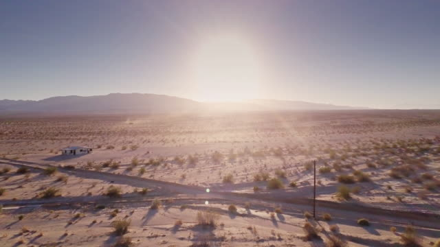 mojave desert at sunset - aerial view - remote location stock videos and b-roll footage