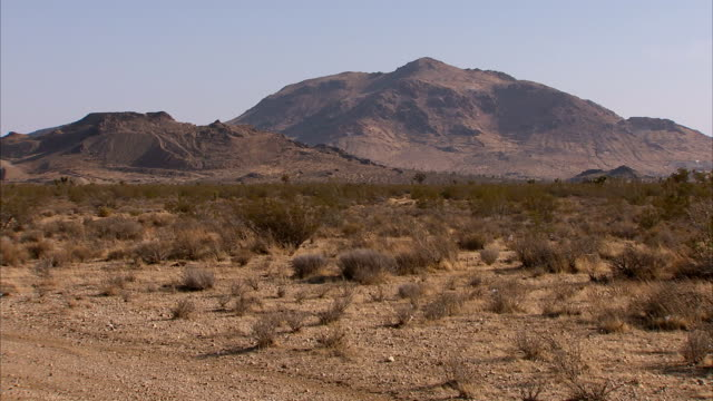 mojave desert mountains and scrub land. - shrubland stock videos & royalty-free footage