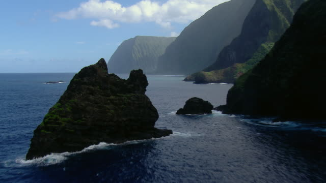 Mokumanu Island on Molokai's scenic north coast.