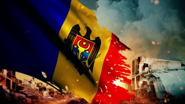 4k moldova flag - crisis / war / fire (loop) - moldova stock videos and b-roll footage