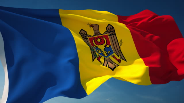 モルドバの国旗 - 単発 - 旗棒点の映像素材/bロール