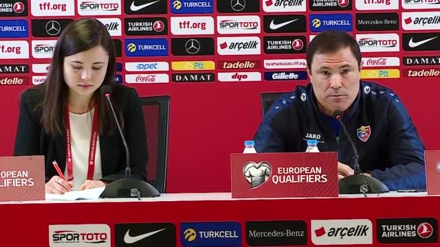Moldova national football team's head coach Alexandru Spiridon attends a press conference following the UEFA Euro 2020 qualifying Group H match...