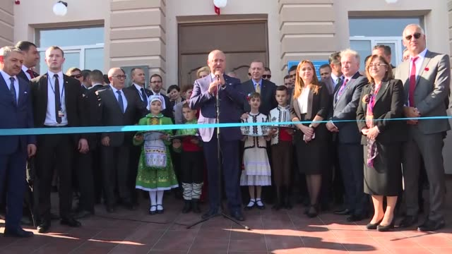 moldovan president igor dodon gives a speech at the inauguration ceremony of a cultural center renovated by turkey's altindag municipality in comrat... - moldova stock videos and b-roll footage
