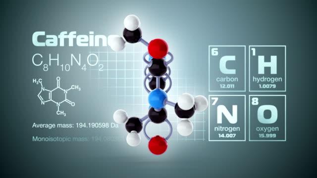 vídeos de stock, filmes e b-roll de molécula de cafeína - molécula de cafeína