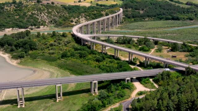 molise viaduct on liscione lake, molise, italy - viaduct stock videos & royalty-free footage