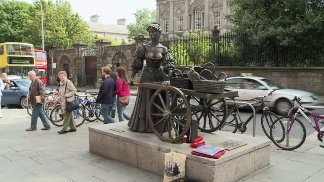 vídeos y material grabado en eventos de stock de ms molly malone statue at grafton street / dublin, county dublin, ireland - estatua