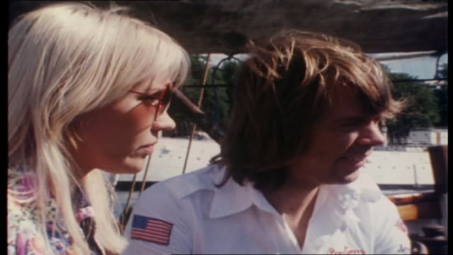 "vidéos et rushes de molly meldrum continues interview with abba on board tall ship ""agnes stockholm"" as they sail around stockholm harbor re winning the eurovision song... - 1976"