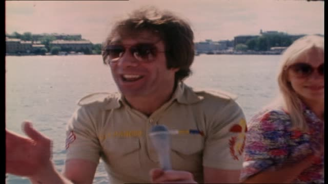 "vidéos et rushes de molly meldrum continues to interview abba on board tall ship ""agnes stockholm"" as they sail around stockholm harbor re their next australian visit - 1976"