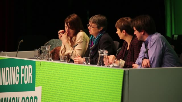 Molly Scott Cato member of European Parliament and finance spokesperson for the Green Party speaks on a panel that addresses delegates during the...