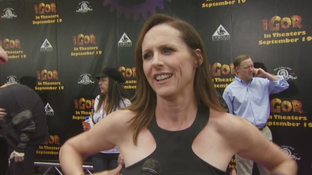 molly shannon on being part of this film, on her character in the film, and on what excites her most about the movie, at the igor premiere at los... - molly shannon stock videos & royalty-free footage