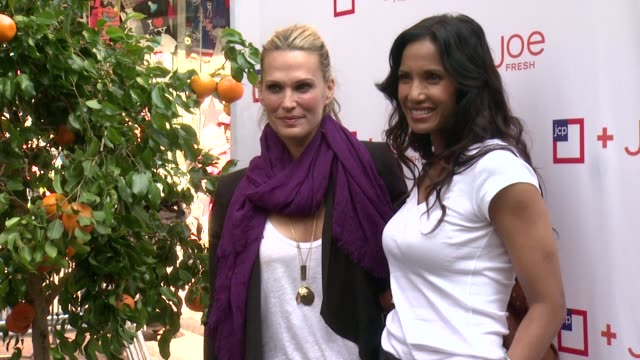 molly sims and padma lakshmi at jcpenney + joe fresh kids orange grove at times square on august 21, 2013 in new york, new york - モリー・シムズ点の映像素材/bロール