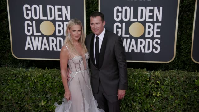 molly sims and scott stuber at 77th annual golden globe awards at the beverly hilton hotel on january 05, 2020 in beverly hills, california. - モリー・シムズ点の映像素材/bロール