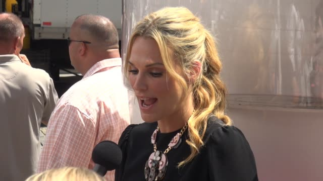 molly sims being interviewed at the sodastream event in union square at celebrity sightings in new york on august 27 2014 in new york city - molly sims stock videos & royalty-free footage