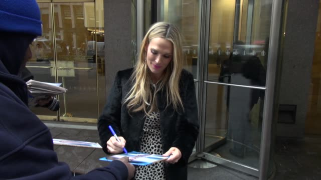 molly sims leaving siriusxm satellite radio signs for fans in celebrity sightings in new york - molly sims stock videos & royalty-free footage