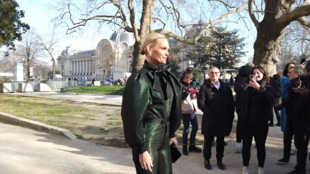 molly sims wears earrings a green and black ruffled outfit with puff sleeves outside elie saab during paris fashion week haute couture spring/summer... - molly sims stock videos & royalty-free footage