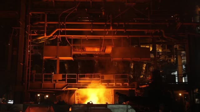 Molten Iron ore and Slag being separated from the Blast Furnace at the Jindal Steel Power Ltd's plant in Raigarh Chhattisgargh India Tuesday Feb 10...