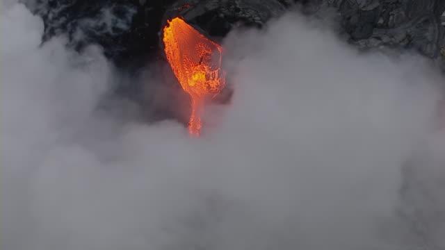 Molten lava flow at Hawaii Volcanoes National Park.