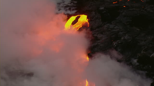 Molten lava flow in Hawaii Volcanoes National Park on the Big Island.