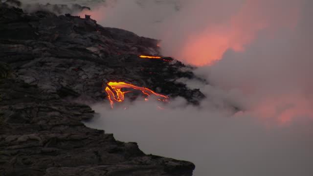 Molten lava flow in Hawaii Volcanoes National Park.