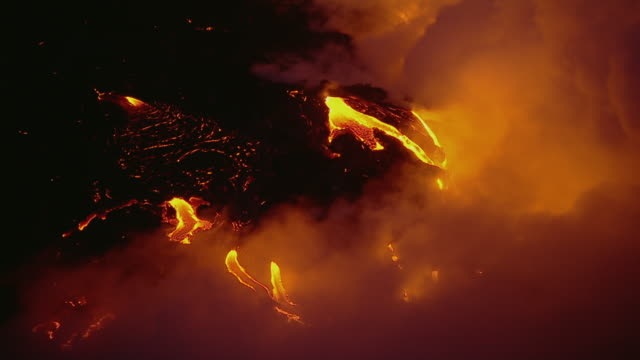 Molten lava flow on the coast of Hawaii Volcanoes National Park.