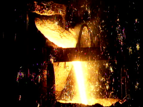 molten liquid pours from cylinder into furnace as sparks flash around - cylinder stock videos & royalty-free footage