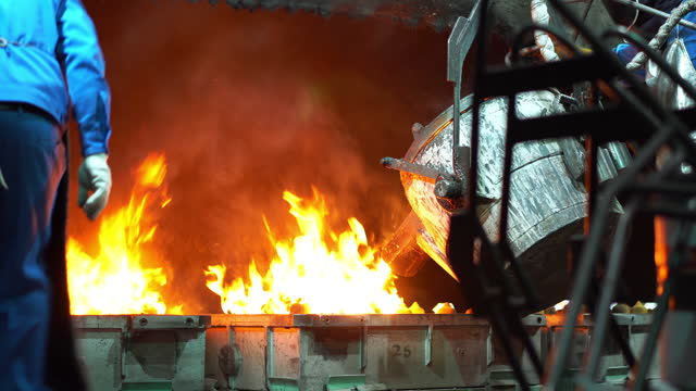 molten metal melting, operator work hard tapping molten metal from furnace to ladle for pouring to in foundry factory - manufacturing machinery stock videos & royalty-free footage