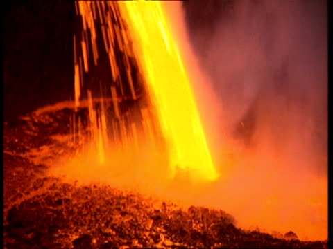 cu molten metal pouring into pool of red hot pool of steel - molten stock videos and b-roll footage