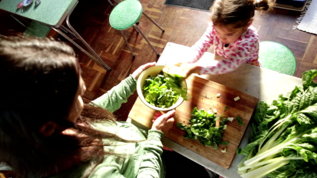 mom and daughter making healthy food - vegetable stock videos & royalty-free footage