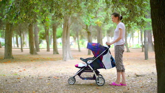 Mom and son in park in summer